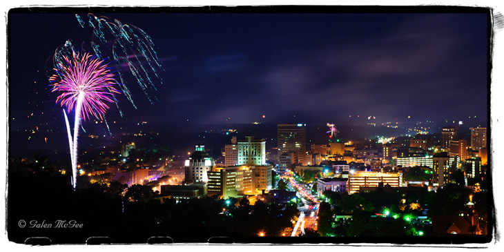 Photo of fireworks in downtown Asheville, NC