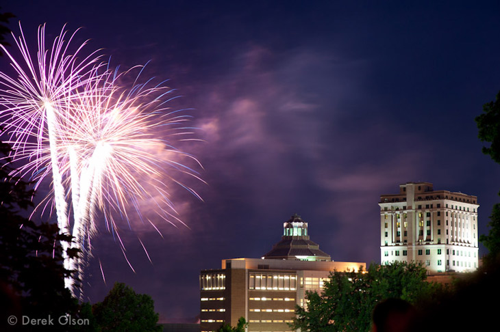 Fireworks in downtown Asheville